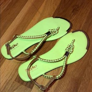 NWT Target Mossimo Sandals in neon yellow and tan